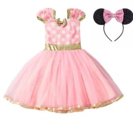 Minnie Mouse jurk roze + glitter diadeem