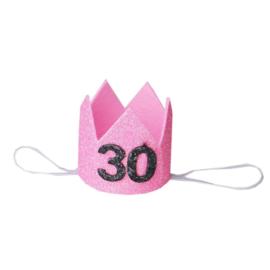 Haarband kroon 30 jaar roze