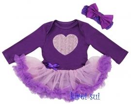 Babyjurk paars/lila hart longsleeve + haarband