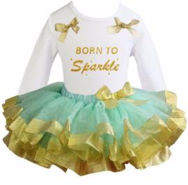 Tutu Satijn set Born To Sparkle lang/korte mouw mint