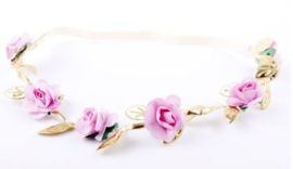 Haarband mini roosjes roze/goud