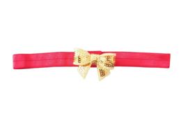 Haarband strik klein, rood/goud