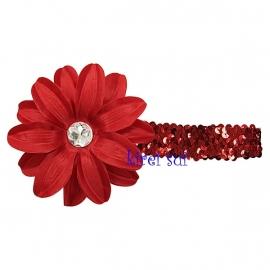 Haarband glitter rood bloem