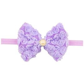 Haarband strik roosjes paars met parel