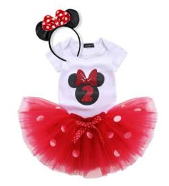 Minnie Mouse rood tutu verjaardagset 2 jaar (3-delig)