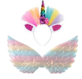 Unicorn regenboog vleugels + diadeem unicorn
