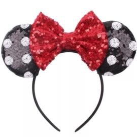 Minnie Mouse glitter diadeem zwart met stippen *