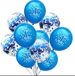 Ballonnen 1 jaar blauw  en confetti - 10 stuks