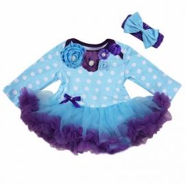 Babyjurk luxe bloemen stippen blauw/paars lang/korte mouw + haarband