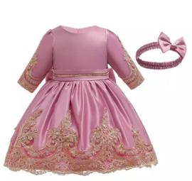 Winter feestjurk roze met haarband