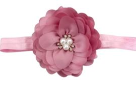 Haarband bloem, dusty pink