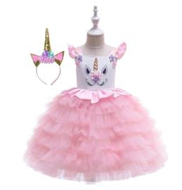 Unicorn jurk ROZE rouches + diadeem