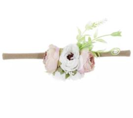Haarband bloemen zacht roze