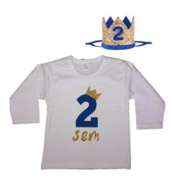 Shirt jongen getal 2 blauw-goud met naam + kroon