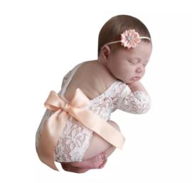 Newborn kanten pakje perzik satijn lint + haarband *