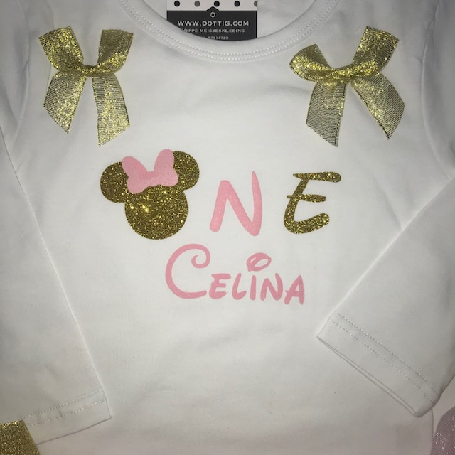 Minnie Mouse verjaardagset ONE + eigen naam
