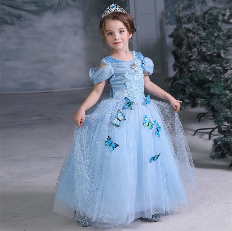 Luxe prinsessenjurk Frozen met vlinders