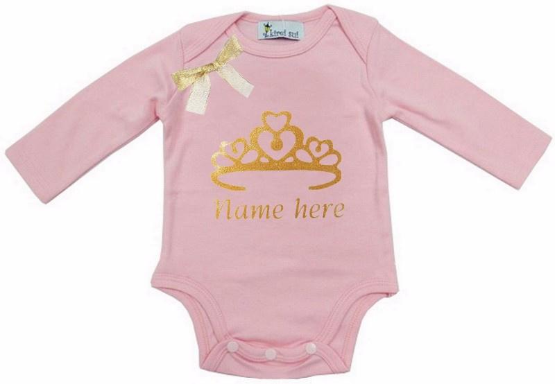 Baby shirt Kroon licht roze + eigen naam