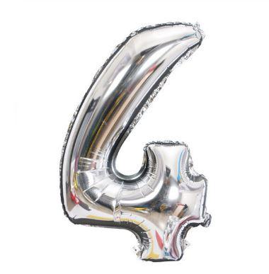 Folie Ballon cijfer 4 - zilver