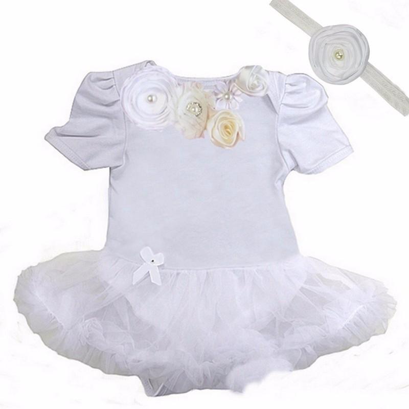 Jurk baby bruiloft/doop wit + haarband