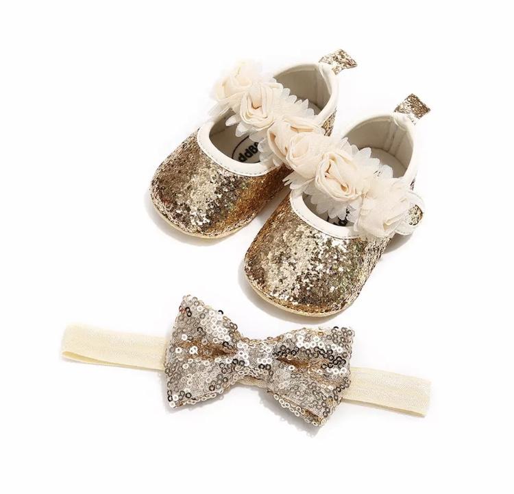Babyschoen GOUD glitters + haarband