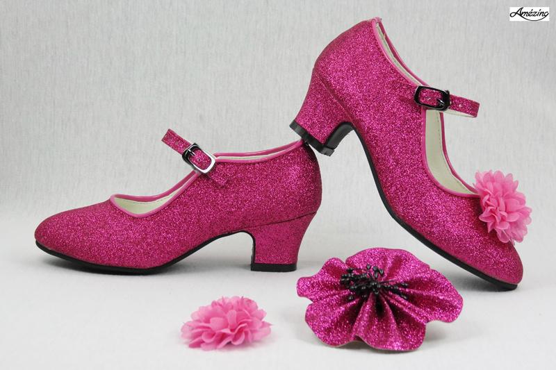 Prinses schoenen PINK GLITTER + 2 gratis bloemclips en 1 haarbloem