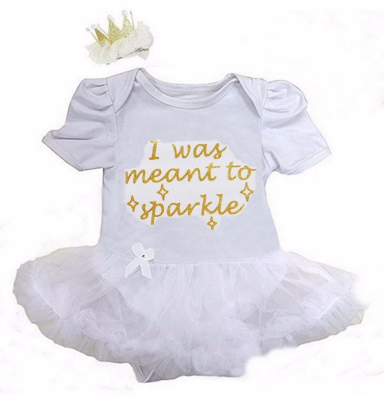 Babyjurk I Was Meant To Sparkle lang/korte mouw wit + haarclip kroon
