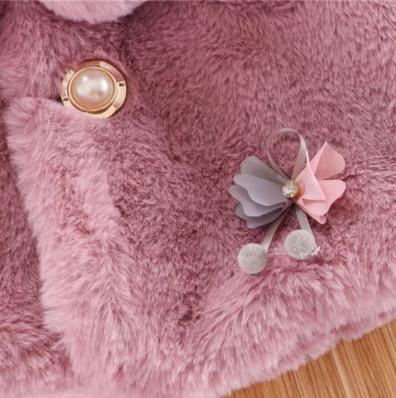 Baby bontjas DUSTY PINK met bloemen