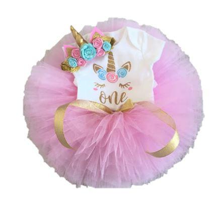 Unicorn verjaardagset One roze/goud/mint (3-delig)