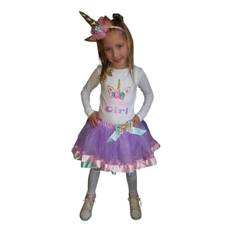Unicorn verjaardagset Birthday Girl longsleeve