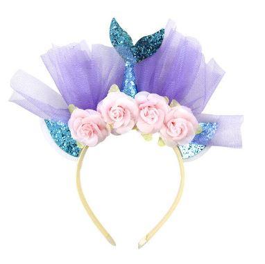 Diadeem zeemeerminstaart aquablauw-roze bloemen *
