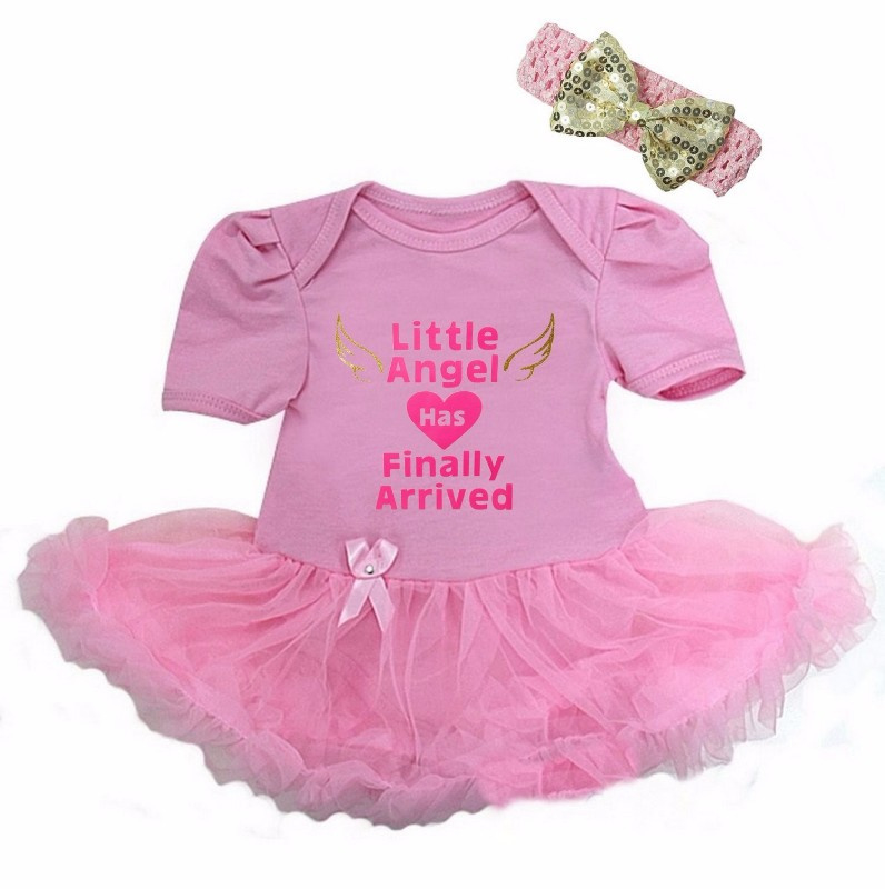 Babyjurk Little Angel Has Finally Arrived roze lang/korte mouw + haarband