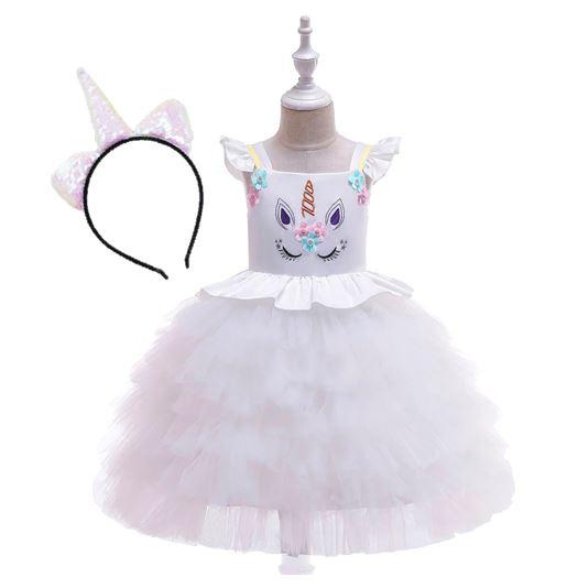 Unicorn jurk WIT rouches + diadeem