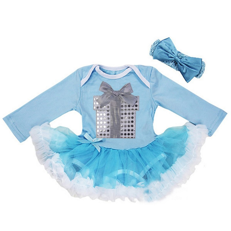 Babyjurk cadeau blauw lang/korte mouw + haarband