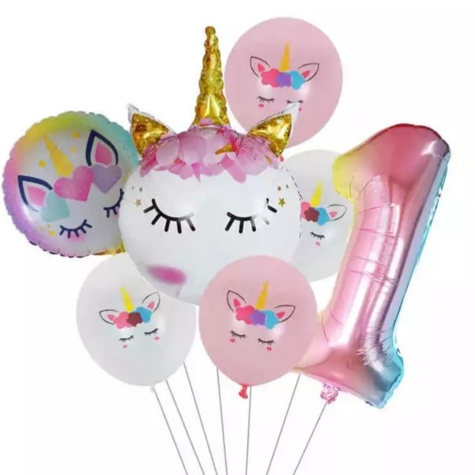 Folie ballonnen Unicorn 1 jaar (7-delig)