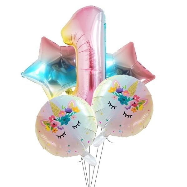 Folie Ballon Unicorn 1 jaar (5 stuks)