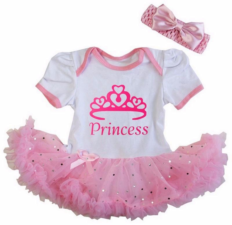Babyjurk Princess roze glitter + haarband, maat 74
