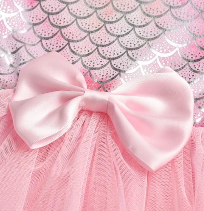 Feestjurk Mermaid roze/zilver, lange mouw