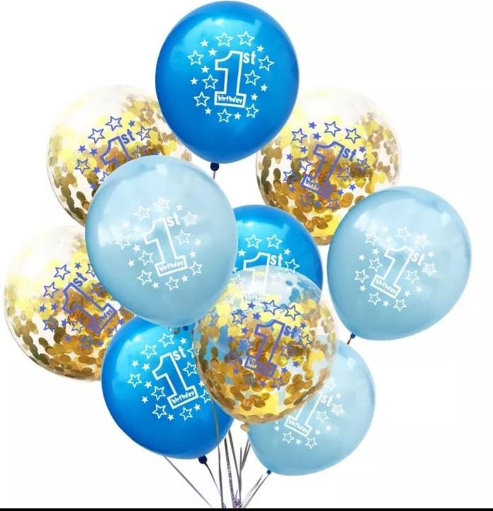 Ballonnen 1 jaar blauw/goud metallic- 10 stuks