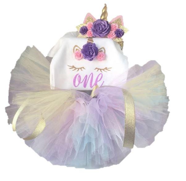 Unicorn verjaardagset One roze/paars (3-delig)