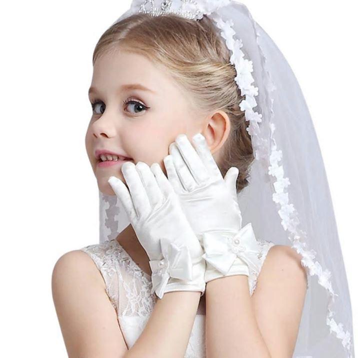 Bruidshandschoenen meisjes kort wit parel