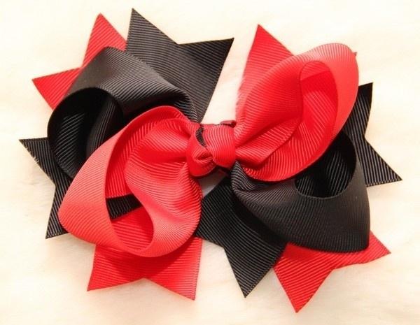 Haarclip strik zwart/rood 12,5 cm