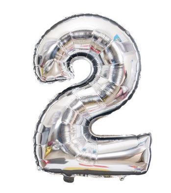 Folie Ballon cijfer 2 - zilver