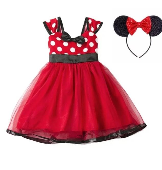 Minnie Mouse jurk rood + glitter diadeem