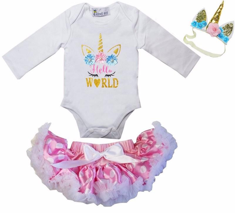 Unicorn Hello World lang/korte mouw roze stippen + haarband
