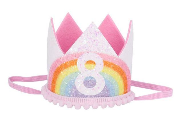 Haarband kroon 8 jaar regenboog wit