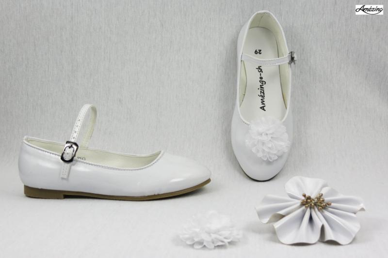 Prinses ballerina schoenen WIT GLOSSY + 2 gratis bloemclips en 1 haarbloem