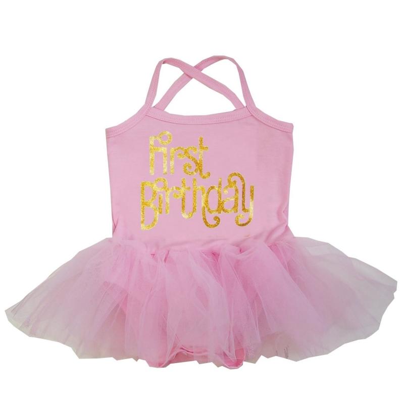 Babyjurk tutu roze goud First Birthday