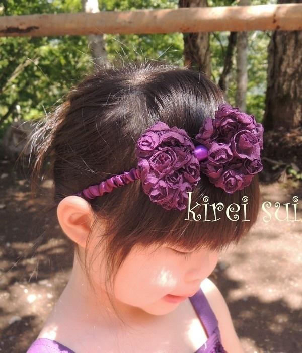 Haarband strik roosjes paars
