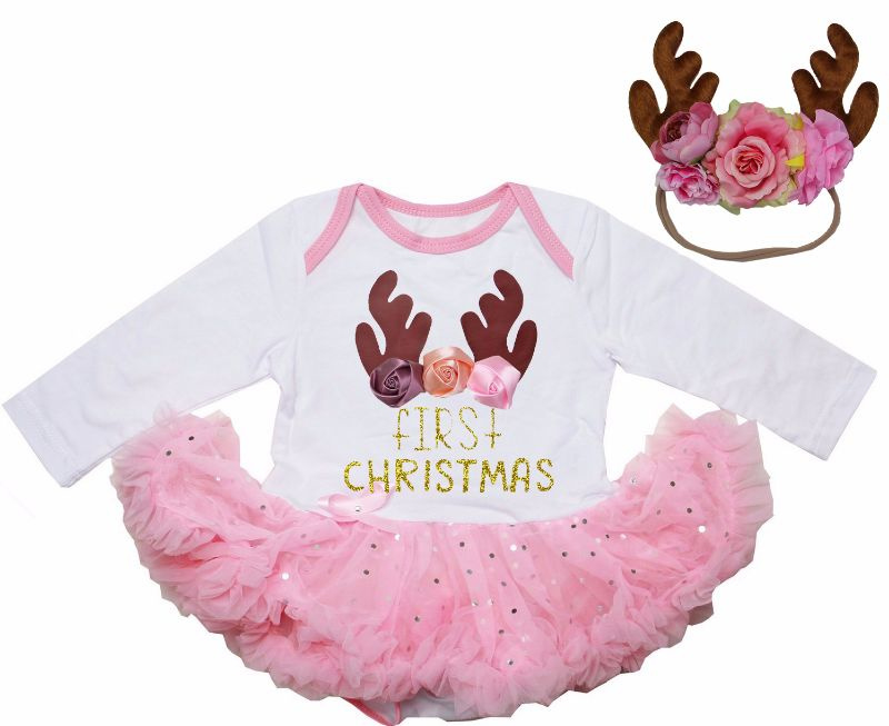 Babyjurk First Christmas roze + haarband rendier (74)